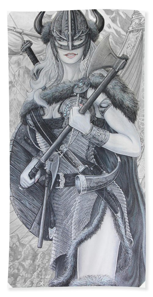 Viking Bath Towel featuring the drawing Tyryja by Kristopher VonKaufman