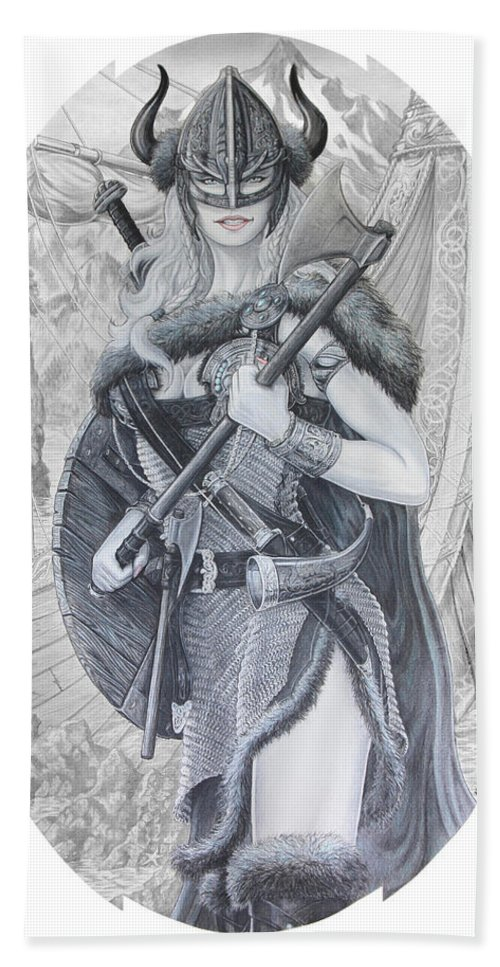 Viking Hand Towel featuring the drawing Tyryja by Kristopher VonKaufman