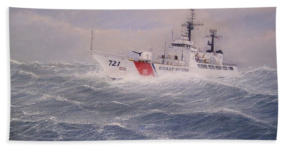 Ship Hand Towel featuring the painting U. S. Coast Guard Cutter Gallitin by William H RaVell III