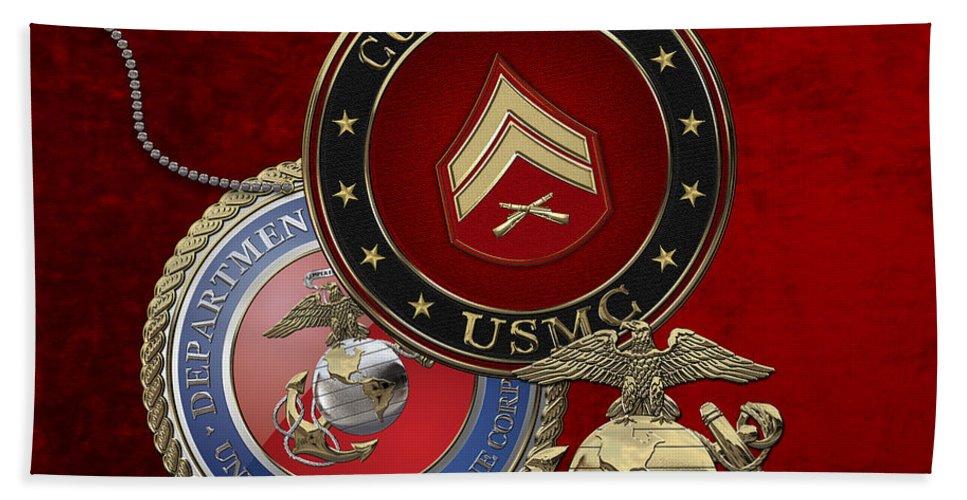 �military Insignia 3d� By Serge Averbukh Hand Towel featuring the digital art U. S. Marines Corporal Rank Insignia Over Red Velvet by Serge Averbukh