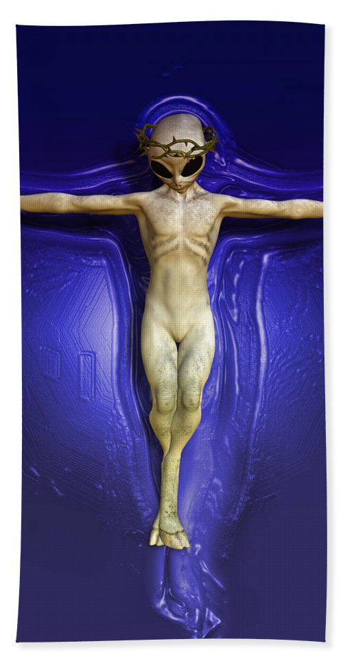 Ufo Hand Towel featuring the painting Holy Ufo by Joaquin Abella