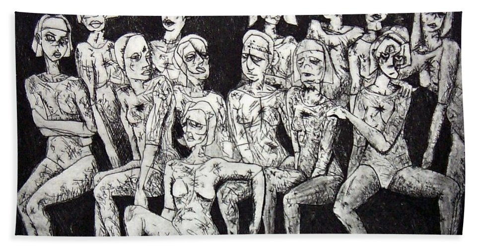 Etching Hand Towel featuring the print Ugly Girls by Thomas Valentine