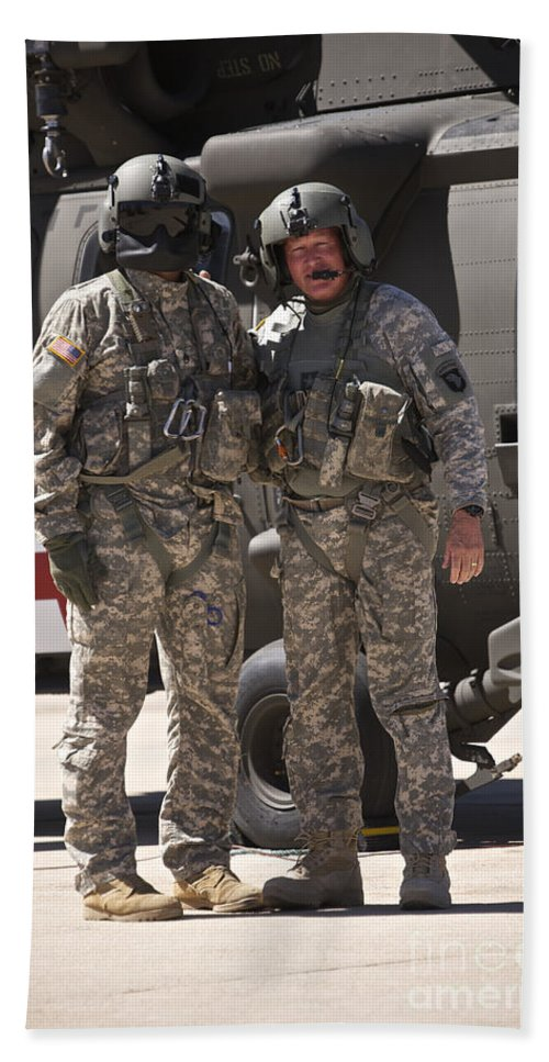 Exercise Angel Thunder Bath Sheet featuring the photograph Uh-60 Black Hawk Crew Chiefs by Terry Moore