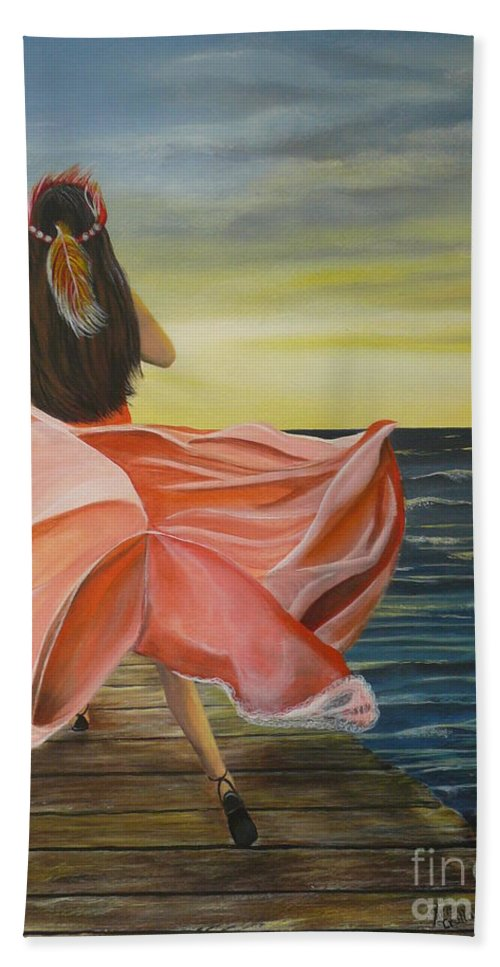 Sunset Bath Sheet featuring the painting Uhane O Ka Welo by Kris Crollard