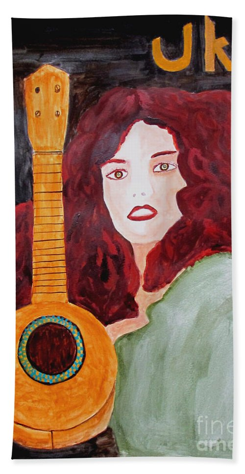 Watercolor Hand Towel featuring the painting Uke by Sandy McIntire