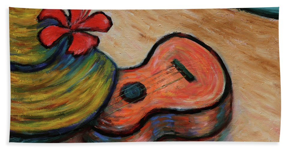 Hawaii Hand Towel featuring the painting Ukulele And Hibiscus Flower On A Hawaii Beach by Xueling Zou