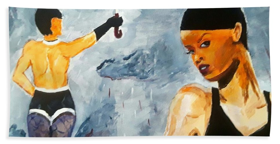 Rihanna Hand Towel featuring the painting Umbrella by Jeremy Phelps