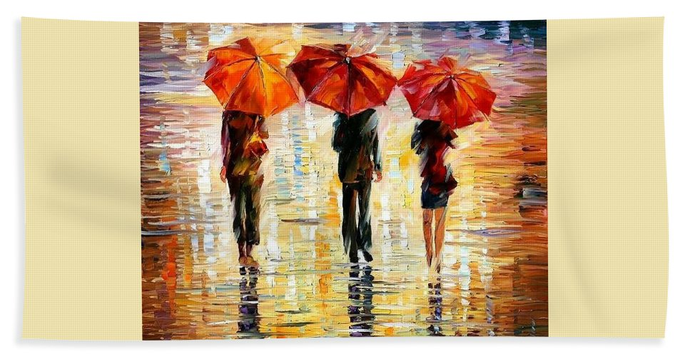 People Bath Sheet featuring the painting Umbrellas by Leonid Afremov