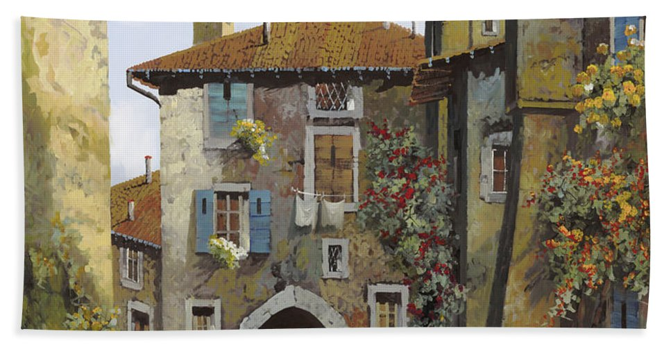 Umbria Bath Towel featuring the painting Umbria by Guido Borelli