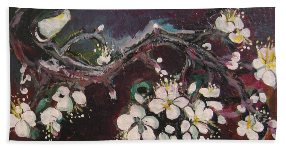 Ume Blossoms Paintings Bath Sheet featuring the painting Ume Blossoms by Seon-Jeong Kim
