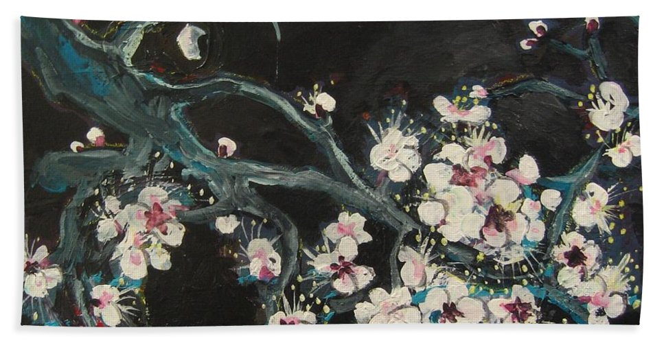 Ume Blossoms Paintings Bath Towel featuring the painting Ume Blossoms2 by Seon-Jeong Kim