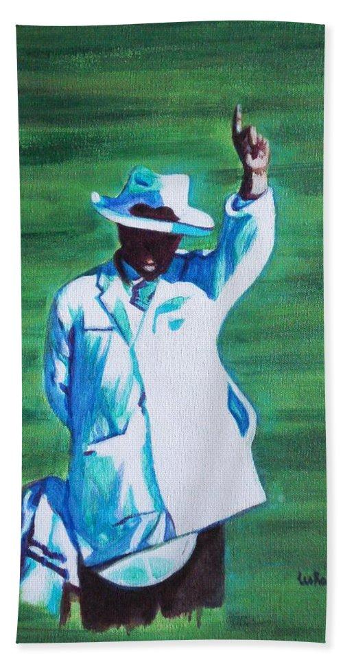 Usha Bath Towel featuring the painting Umpiring by Usha Shantharam