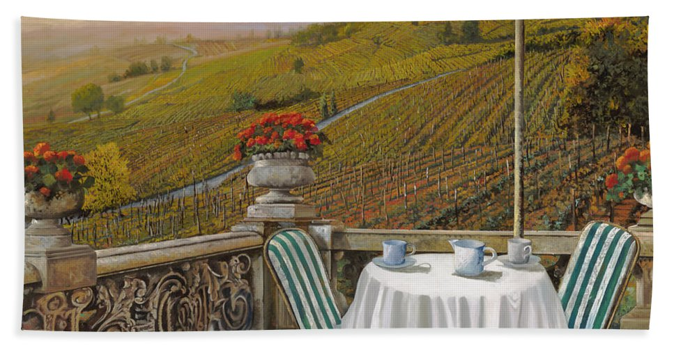Vineyard Hand Towel featuring the painting Un Caffe by Guido Borelli