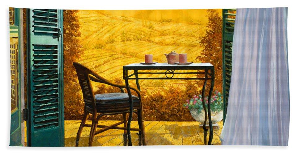 Terrace Hand Towel featuring the painting Un Caldo Pomeriggio D by Guido Borelli