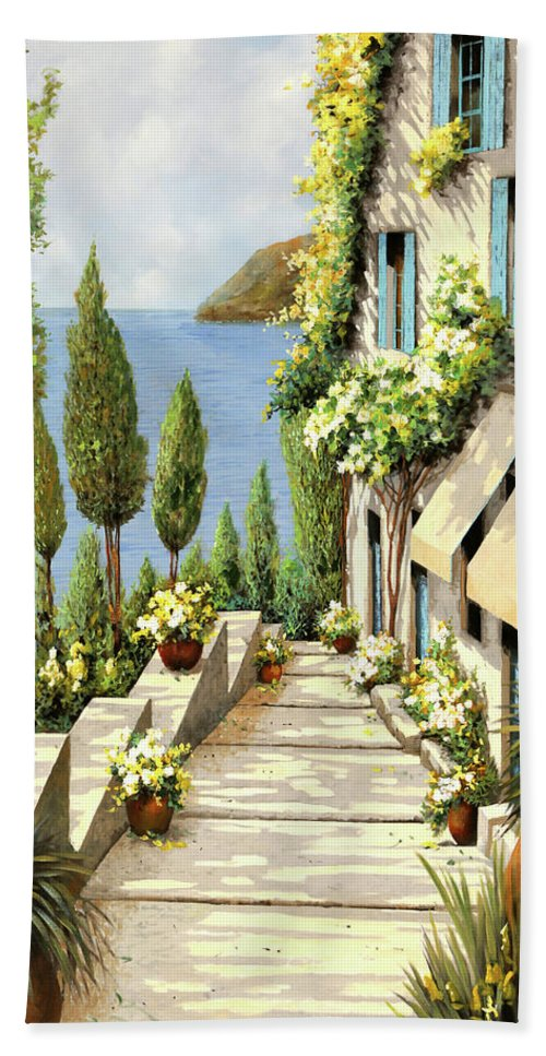 Canarino Hand Towel featuring the painting Un Canarino by Guido Borelli