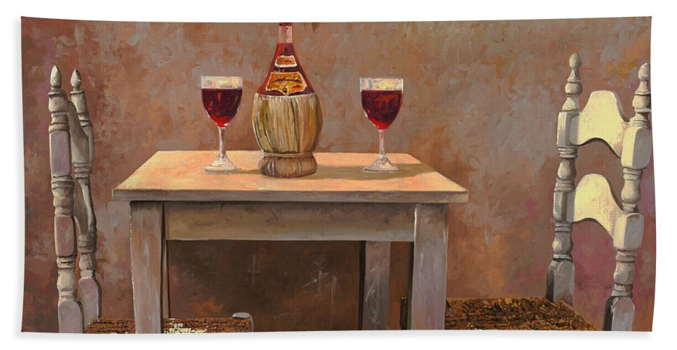 Chianti Hand Towel featuring the painting un fiasco di Chianti by Guido Borelli