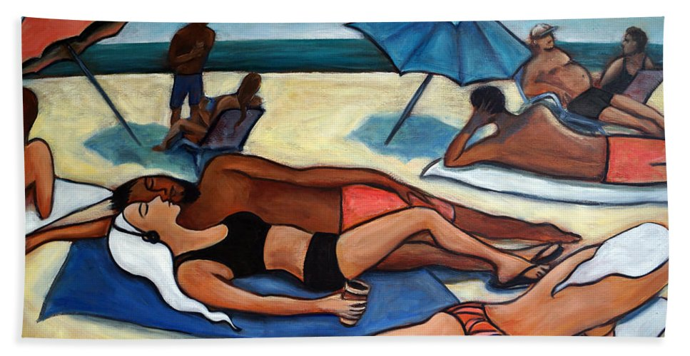 Beach Scene Hand Towel featuring the painting Un Journee A La Plage by Valerie Vescovi