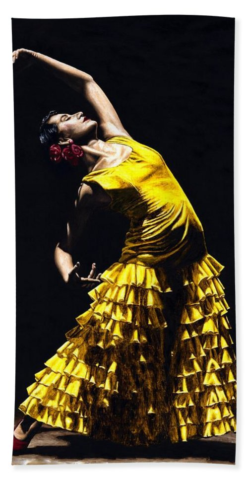 Flamenco Hand Towel featuring the painting Un Momento Intenso Del Flamenco by Richard Young