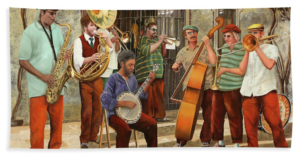 Jazz Hand Towel featuring the painting Un Po' Di Jazz by Guido Borelli