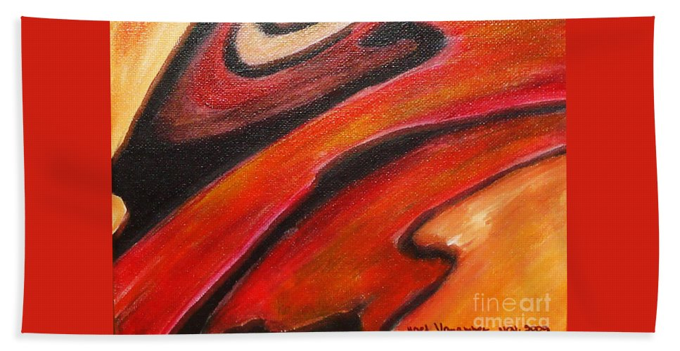 Abstract Bath Sheet featuring the painting Uncertainity by Yael VanGruber