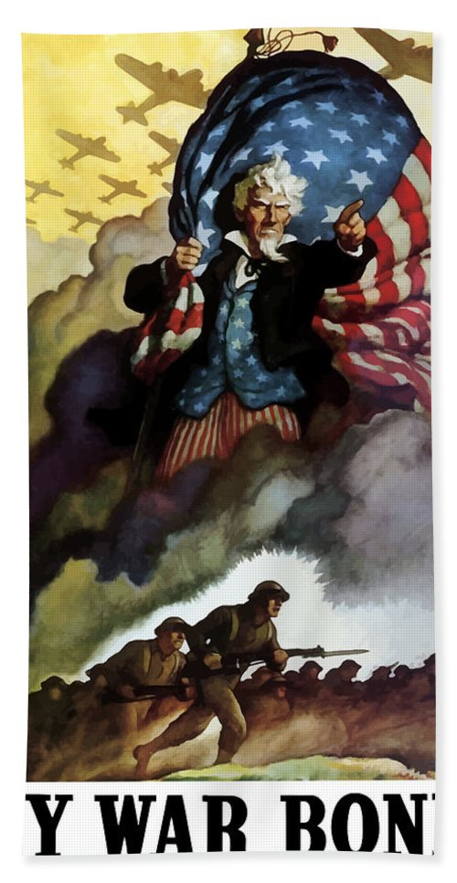 Uncle Sam Bath Towel featuring the painting Uncle Sam - Buy War Bonds by War Is Hell Store