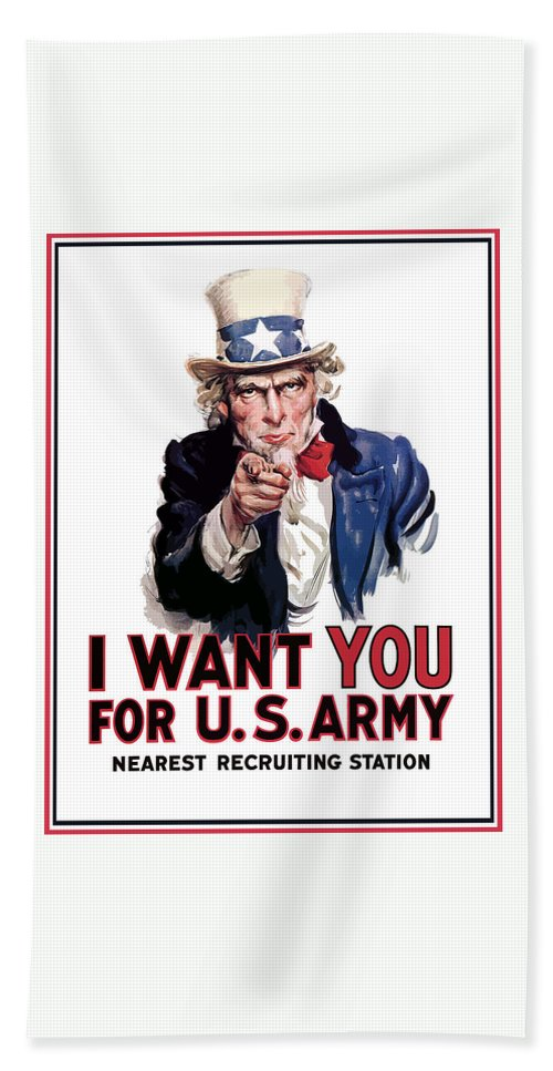 Ww2 Bath Towel featuring the painting Uncle Sam -- I Want You by War Is Hell Store