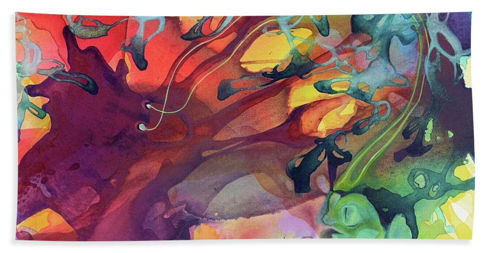 Abstract Bath Sheet featuring the painting Uncontrolled by Darcy Lee Saxton