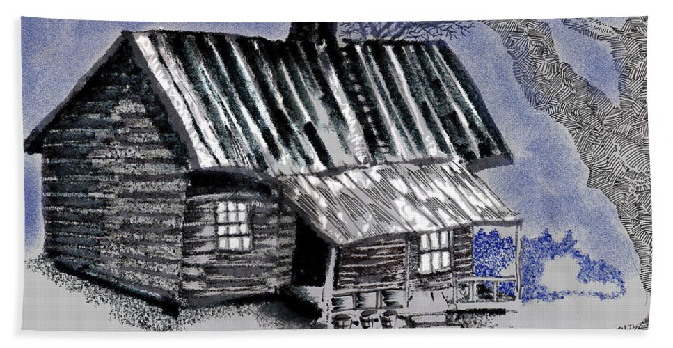 Cabin Bath Towel featuring the drawing Under a Tin Roof by Seth Weaver