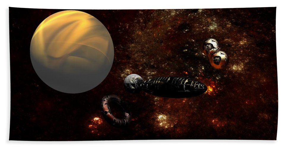 Science Fiction Hand Towel featuring the digital art Under Construction by David Lane