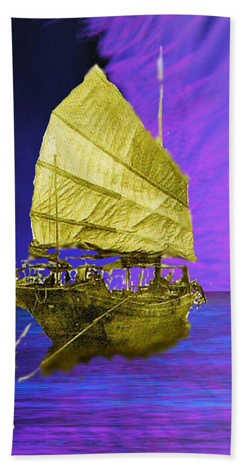 Nautical Bath Towel featuring the digital art Under Golden Sails by Seth Weaver