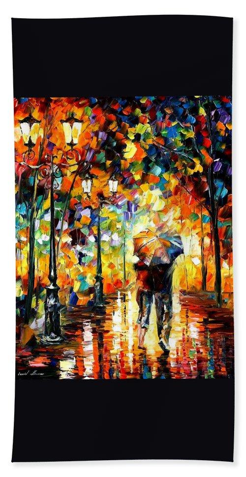 Afremov Bath Sheet featuring the painting Under One Umbrella by Leonid Afremov