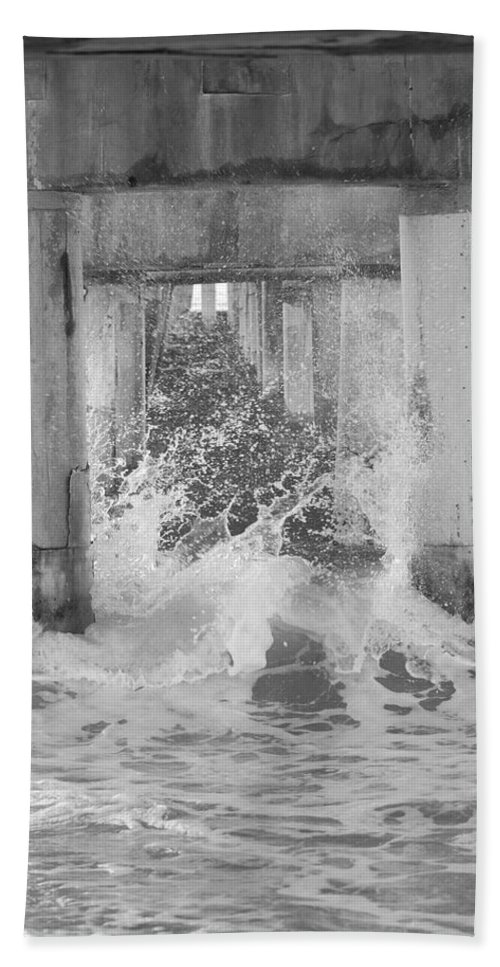 Black And White Bath Sheet featuring the photograph Under The Boardwalk by Rob Hans