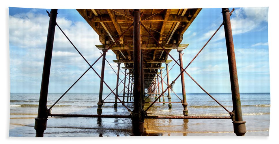Saltburn Pier Bath Sheet featuring the photograph Under The Boardwalk by Sarah Couzens