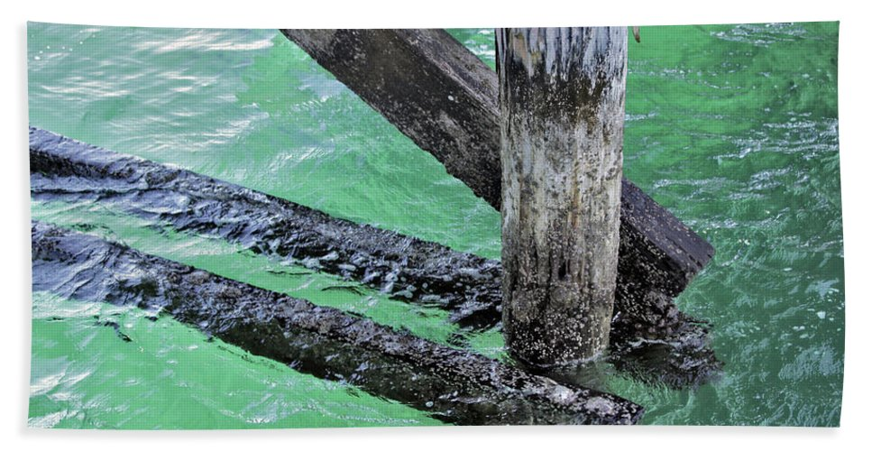 Water Hand Towel featuring the photograph Under The Boardwalk by Stephen Mitchell