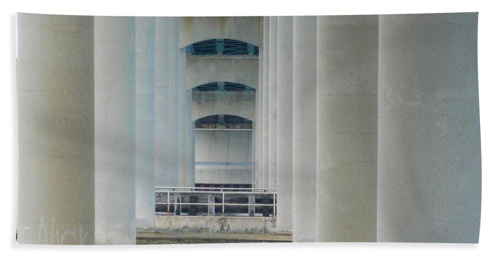Underside Hand Towel featuring the photograph Under The Brigantine Bridge by Arlane Crump