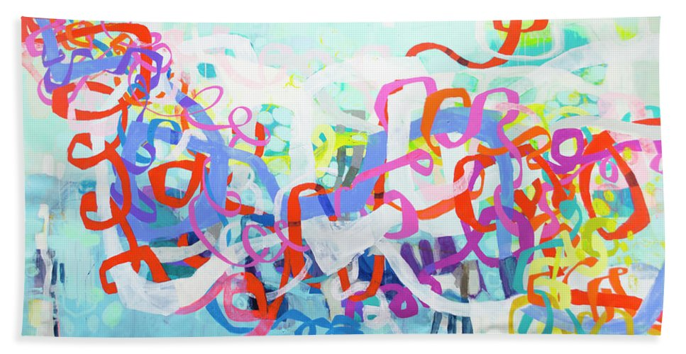 Abstract Hand Towel featuring the painting Under The Electric Candelabra by Claire Desjardins