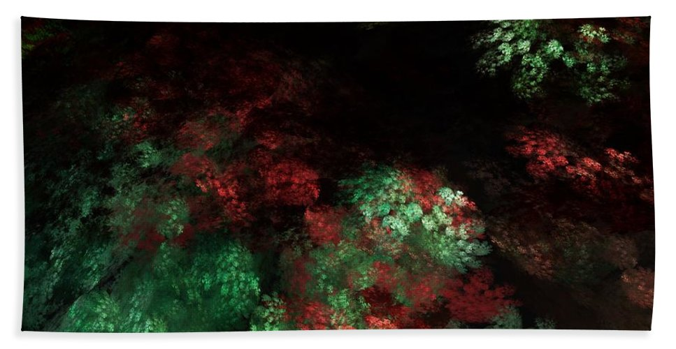 Abstract Digital Painting Hand Towel featuring the digital art Under The Forest Canopy by David Lane