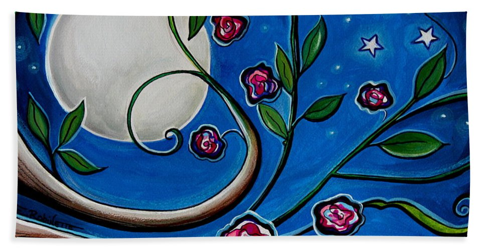 Flowers Hand Towel featuring the painting Under The Glowing Moon by Elizabeth Robinette Tyndall