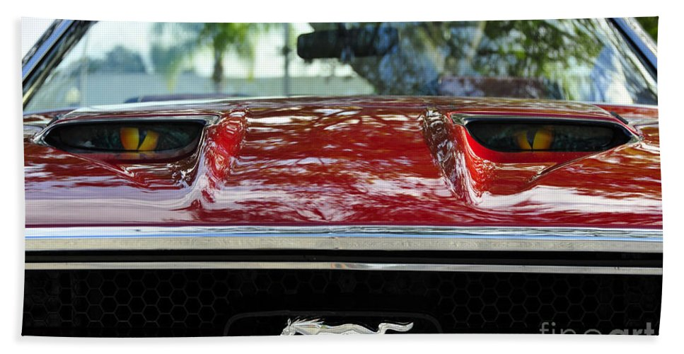 Classic Car Bath Sheet featuring the photograph Under The Hood by David Lee Thompson