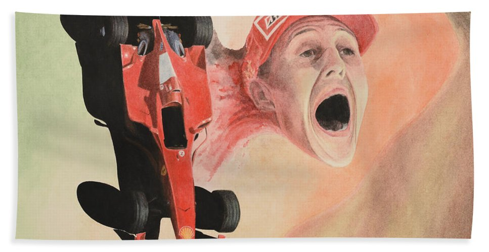 Formula One Bath Sheet featuring the painting Under The Nose by Oleg Konin
