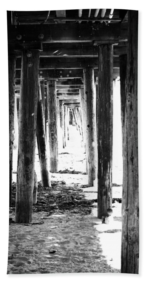 Pier Hand Towel featuring the mixed media Under The Pier by Linda Woods