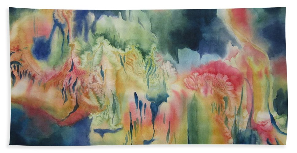 Abstract Hand Towel featuring the painting Under The Sea by Deborah Ronglien