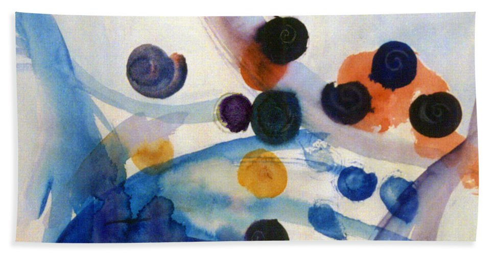 Abstract Bath Towel featuring the painting Under the Sea by Steve Karol