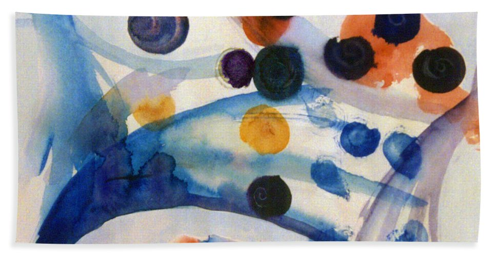 Abstract Hand Towel featuring the painting Under The Sea by Steve Karol