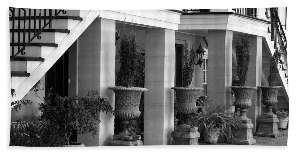 Savannah Bath Sheet featuring the photograph Under The Steps In Savannah - Black And White by Carol Groenen