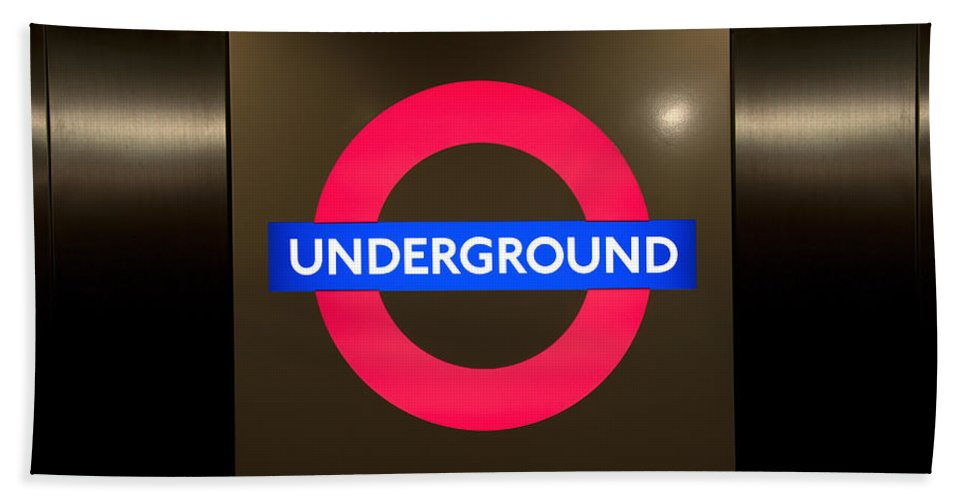 Architecture Bath Sheet featuring the photograph Underground Sign by Svetlana Sewell
