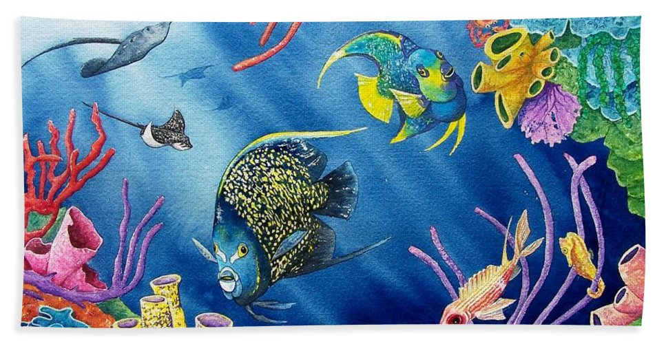 Undersea Hand Towel featuring the painting Undersea Garden by Gale Cochran-Smith