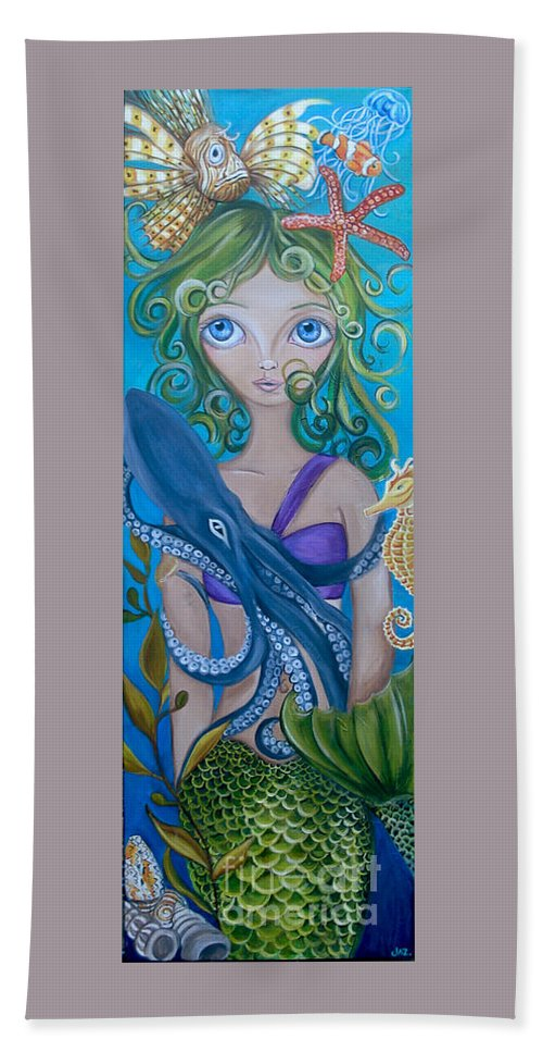 Underwater Hand Towel featuring the painting Underwater Mermaid by Jaz Higgins