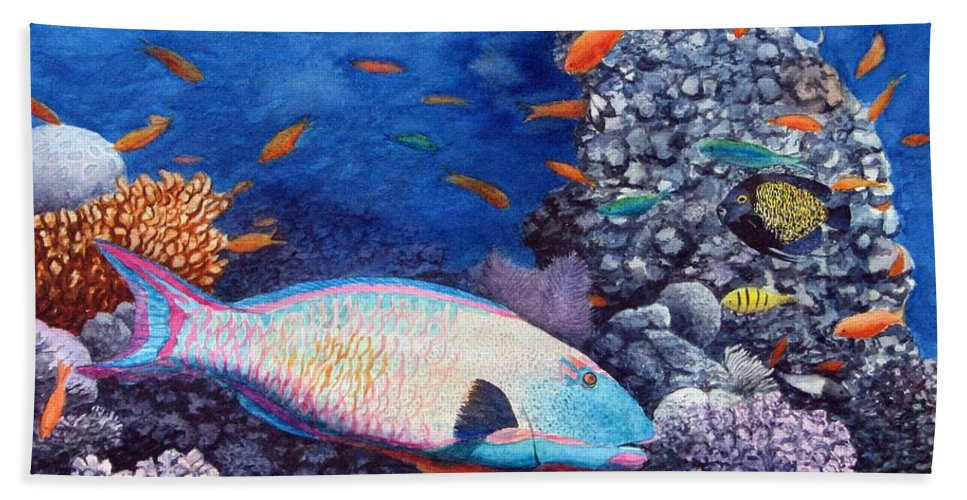 Fish Bath Sheet featuring the painting Underwater Treasures by Sharon Farber