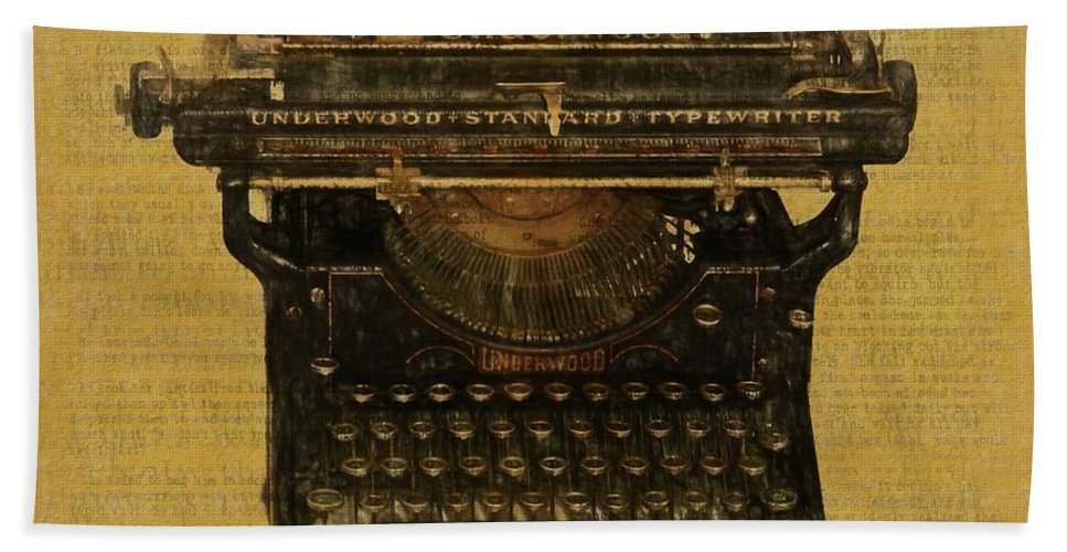 Underwood Typewriter On Text Bath Towel featuring the digital art Underwood Typewriter On Text by Dan Sproul
